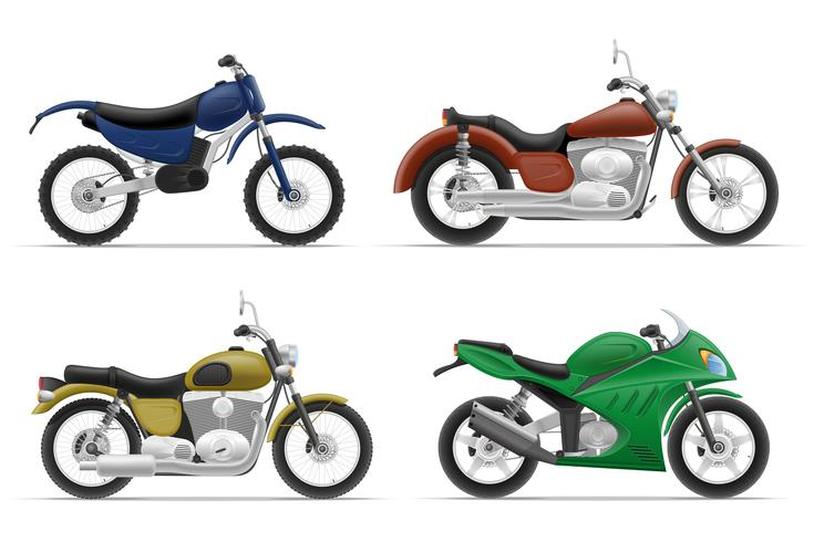motorcycle set icons vector illustration