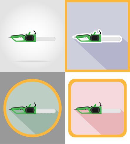 Sierra eléctrica herramientas para la construcción y reparación de iconos planos vector illustration