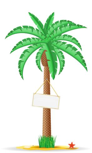 palm tree with a sign vector illustration
