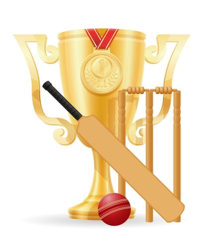 Copa de cricket ganador oro stock vector ilustración