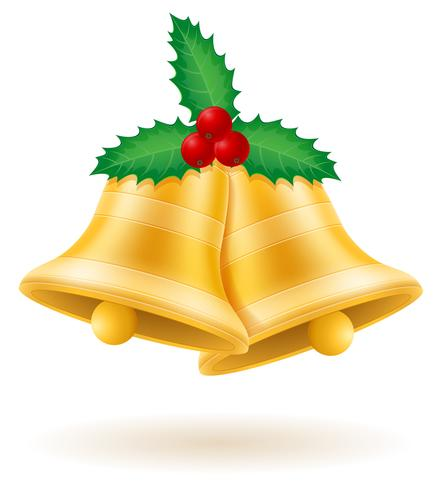 christmas gold bells vector illustration