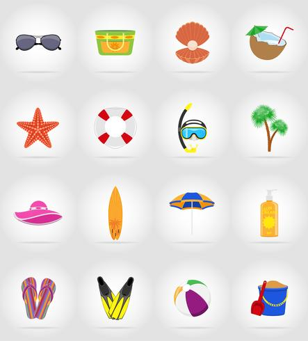 objects for recreation a beach flat icons vector illustration