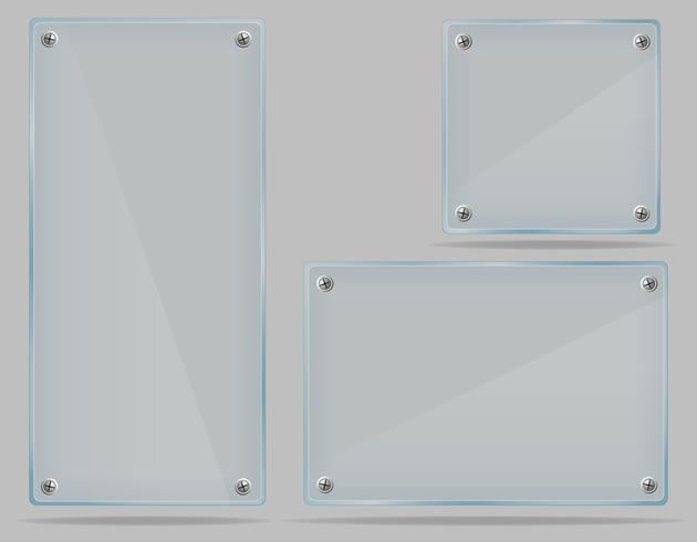 set transparent glass plate vector illustration