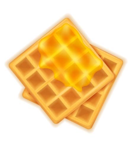 cialda belga con miele dolce dessert per colazione illustrazione vettoriale