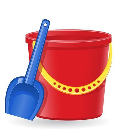 plastic bucket and shovel vector illustration