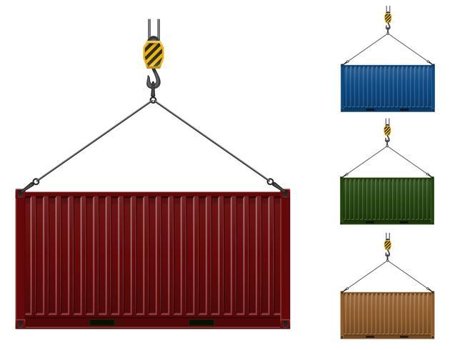 contenedor colgando en el gancho de una grúa ilustración vectorial