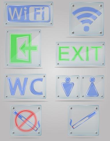 metta le icone ai segni trasparenti per i posti pubblici sull'illustrazione di vettore del piatto