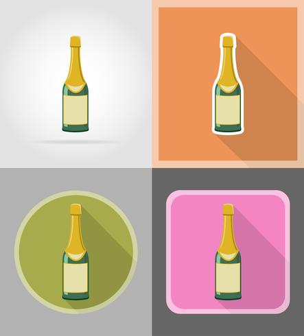 fles champagne vlakke pictogrammen vector illustratie