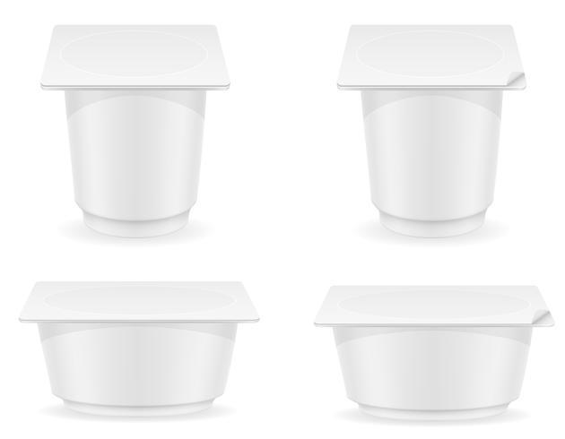 Envase de plástico blanco de ilustración de vector de yogur