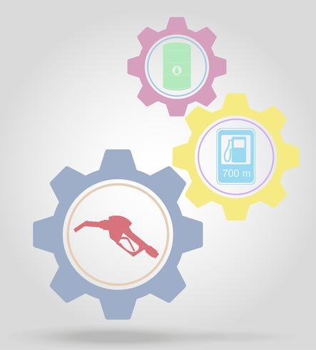 Ilustración de vector de concepto de mecanismo de engranaje de combustible