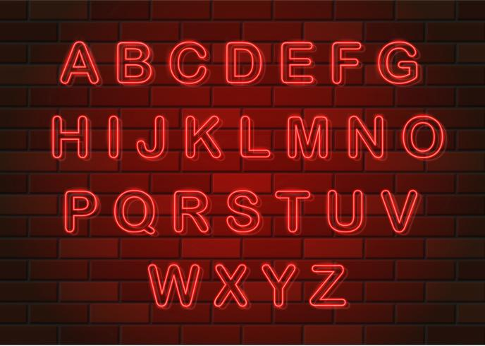 glowing neon letters english alphabet vector illustration