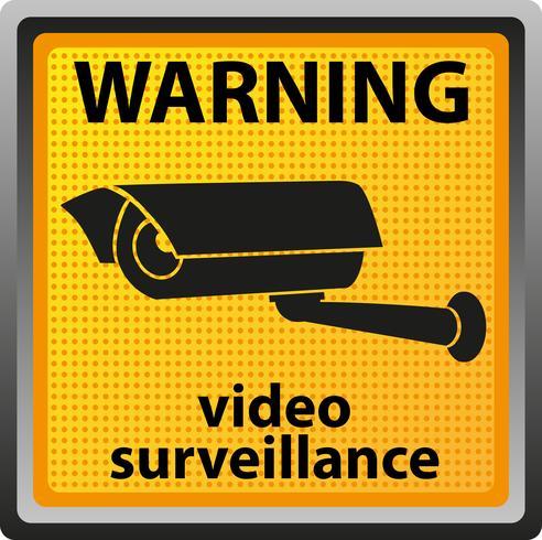 sign warning of surveillance camera vector