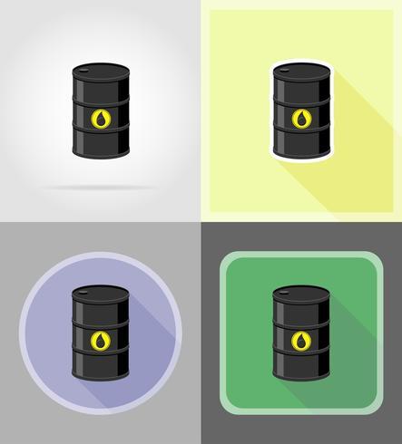 Barril negro para los iconos planos de petróleo vector ilustración