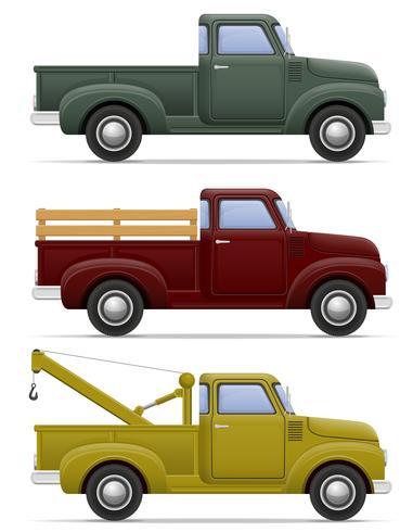 Ilustración de vector de recogida de coche retro viejo