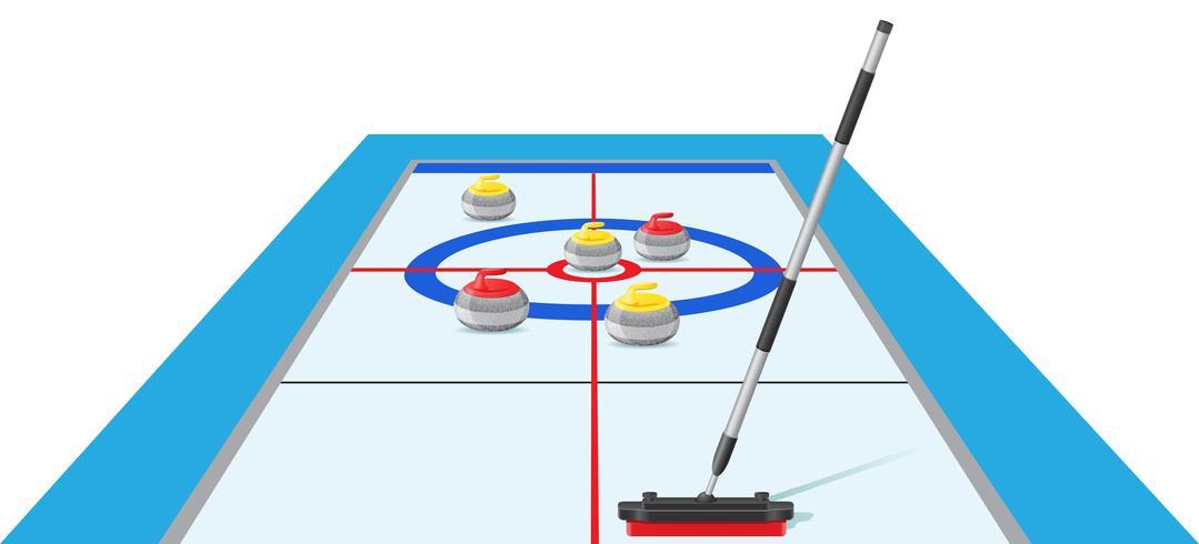 curling sport game vector illustration