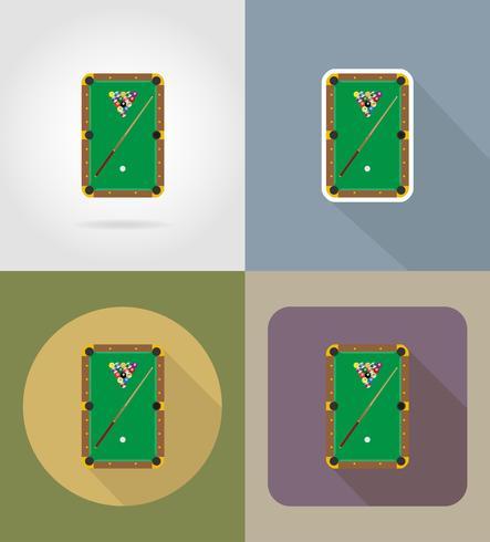 Mesa de billar iconos planos vector illustration