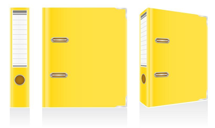 folder yellow binder metal rings for office vector illustration