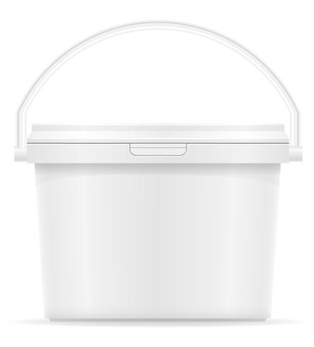 weißer Plastikeimer für Farbenvektorillustration