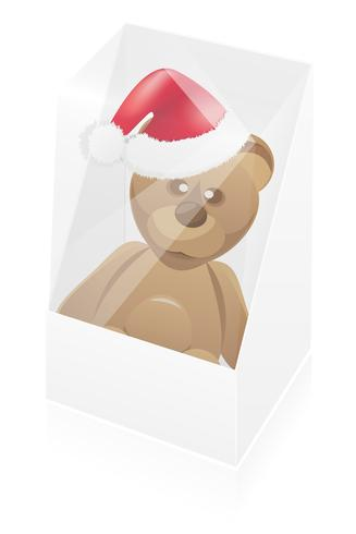 new year packing box with toy bear vector illustration