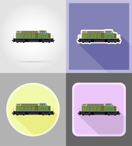 illustrazione piana di vettore delle icone del treno locomotivo ferroviario