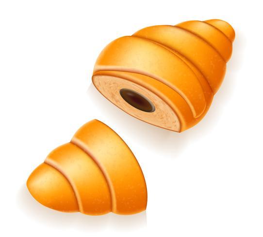 krispig croissant med den brutna chokladfyllnadsvektorillustrationen vektor
