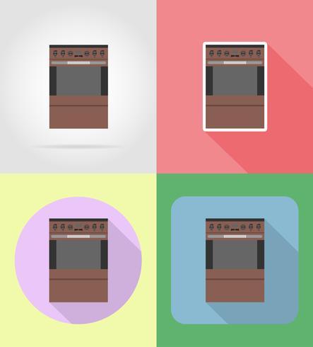 Estufa electrodomésticos para los iconos planos de cocina vector ilustración