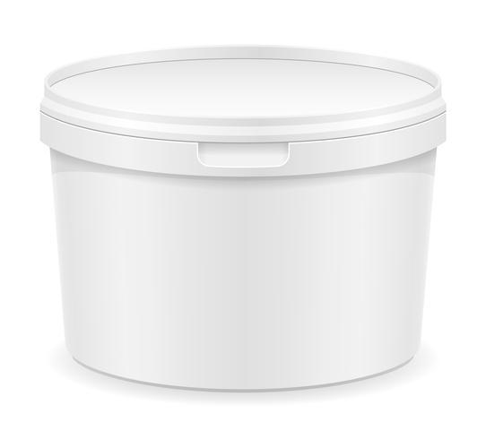 Recipiente de plástico blanco para helado o postre ilustración vectorial