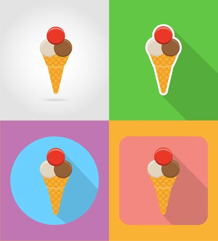 icônes plat fast food de crème glacée avec l'illustration vectorielle ombre