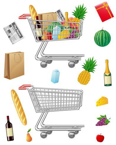 Carrito de compras con compras y alimentos.