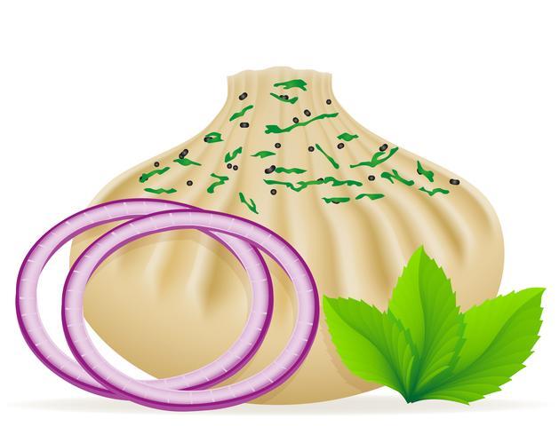 khinkali di gnocchi di pasta con un'illustrazione di vettore di riempimento e verdi