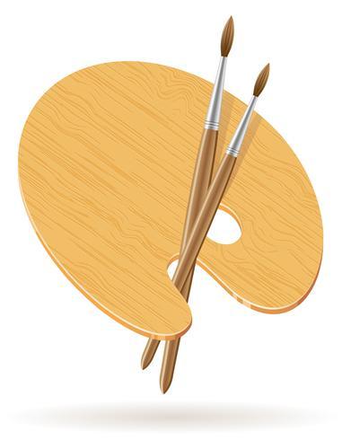 paleta para tintas e ilustração vetorial de pincel