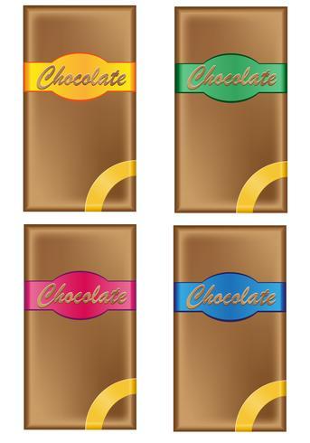 Chocolate en envase con etiquetas de colores.