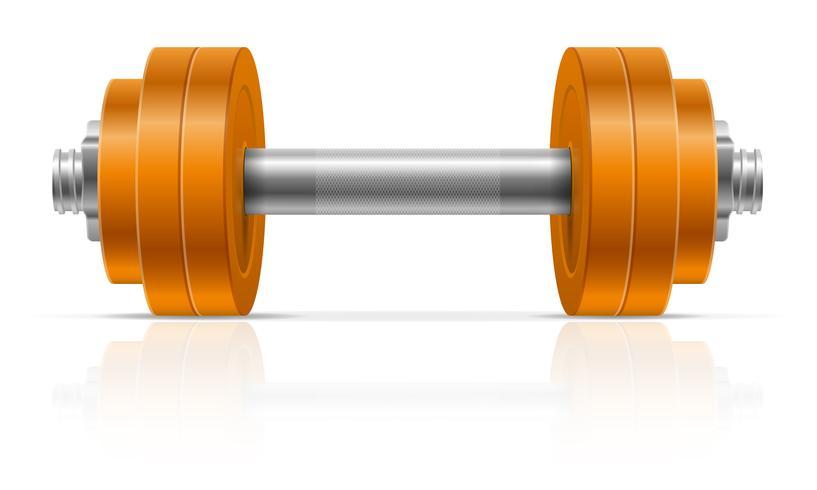 Mancuerna de metal para la construcción de músculo en la ilustración de vector de gimnasio