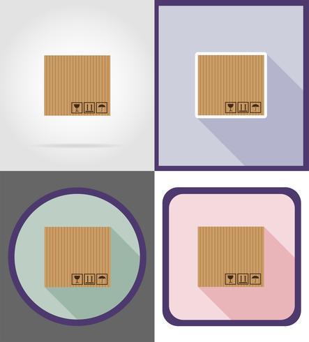 Ilustración de vector de iconos planos de caja de cartón de entrega