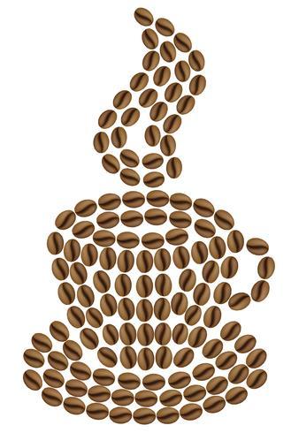 xícara de café é feita de grãos ilustração vetorial