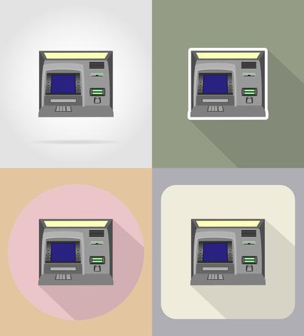 atm platt ikoner vektor illustration