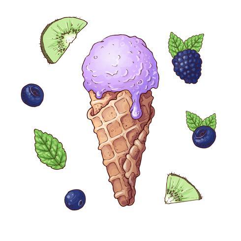 Juego de helado con frutas incluyendo mora, kiwi, arándano