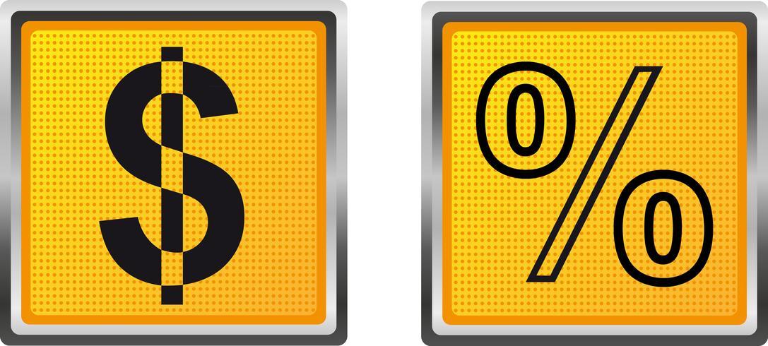 Iconos de dólares y por ciento para la ilustración de vector de diseño