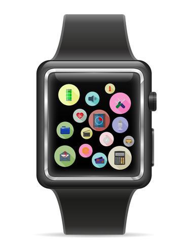 Reloj digital inteligente con pantalla táctil stock vector illustration