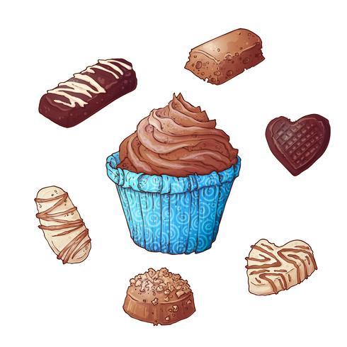 Ensemble de chocolats cupcakes, dessin à la main. Vecteur
