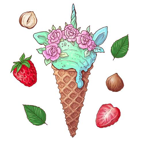 Set berries ice cream nuts. Vector illustration. Hand drawing