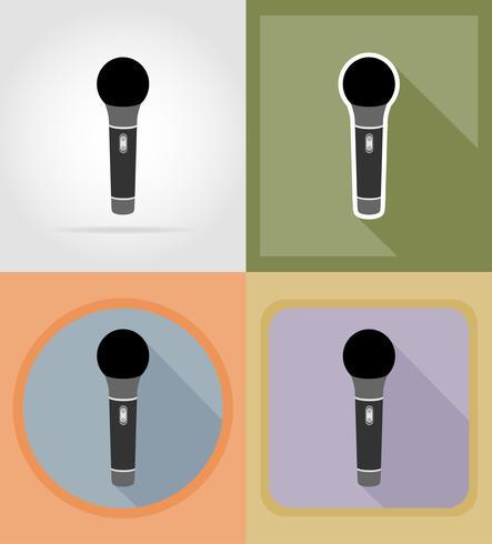 micrófonos iconos planos vector illustration
