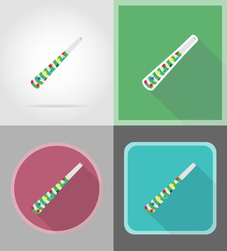 pipe for celebration flat icons vector illustration