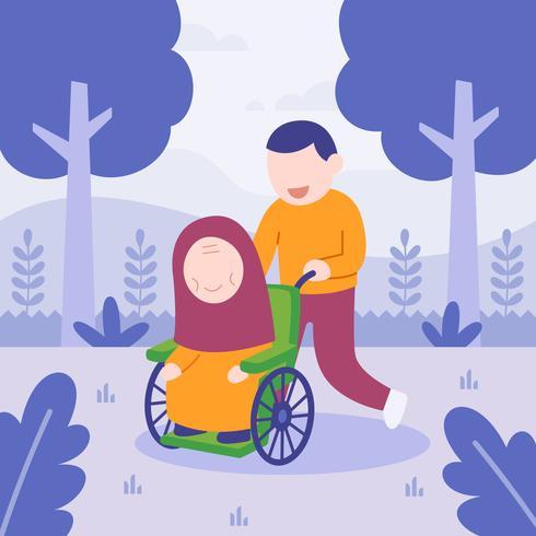Hombre ayudando a su mamá en silla de ruedas. familia feliz. ilustración vectorial plana