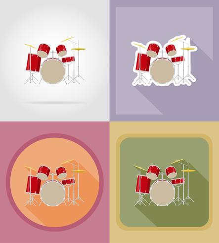drum set kit flat icons vector illustration