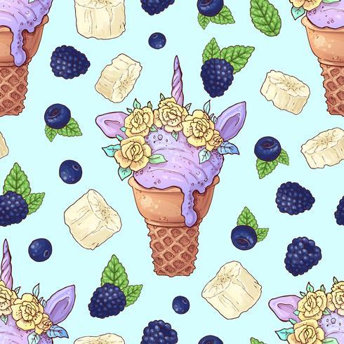 Seamless pattern ice cream wild berries, bananas