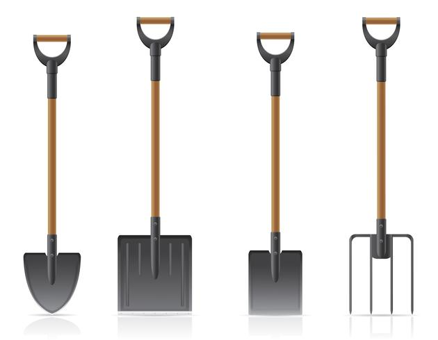 pá de ferramenta de jardim e ilustração vetorial de forquilha