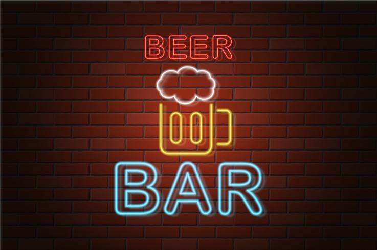 Ilustración de vector de barra de cerveza de letrero de neón brillante