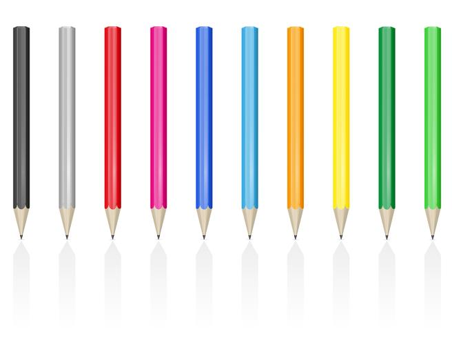 colour pencils pens vector illustration