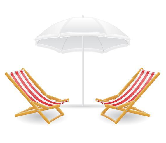 sedia a sdraio e ombrellone illustrazione vettoriale